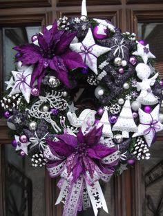 101 Creative Christmas Wreaths Ideas For All Types Of Decor Purple Christmas Tree Decorations, Christmas Wreaths To Make, Holiday Wreaths, Christmas Diy, Christmas Ornaments, Purple Wreath, Diy Baby Shower Decorations, Diy Wreath, Wreath Ideas
