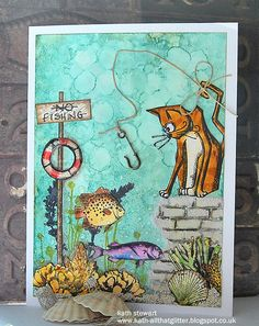 SSS Monday Challenge - Go Fish 22 August 2016 using Yupo, Alcohol Inks, SA Crazy Cats, Prima French Riviera Paintables, Tim Holtz Distress Markers, Mini Layering Stencil Brick and Grit Paste