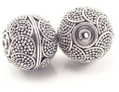 2 (two) 12 mm Bali Sterling Silver Beads - Hand-crafted in Bali, Indonesia