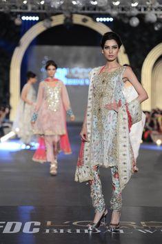 Floral churidar suit by Zara Shahjahan at PFDC Bridal Week 2013.