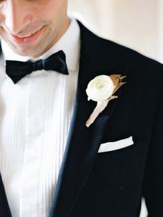 Ranunculus boutonniere: http://www.stylemepretty.com/2015/03/23/classic-ballroom-washington-dc-wedding/ | Photography: Abby Jiu - http://www.abbyjiu.com/