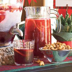 Mock Tea Sangría  You won't miss the wine in this rich, ruby-red drink. Mix together pureed raspberries, grape juice, tea, and orange soda for a little fizz. You can make this faux sangría up to a day ahead of your party and add the soda just before serving.