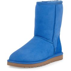 UGG Australia Classic Short Boot (235 CAD) ❤ liked on Polyvore featuring shoes, boots, ankle booties, uggs, ankle boots, smooth blue, short boots, low ankle boots, ugg australia and rubber sole boots