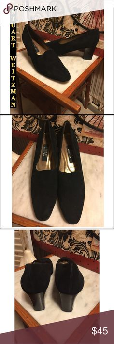 """SZ 11 AAA-STUART WEITZMAN BLACK SUEDE 3"""" PUMPS STUART WEITZMAN CLASSIC BLACK SUEDE PUMPS. 3"""" HIGH THICKER HEELS. SZ 11 AAA-NARROW WIDTH. OVERALL THE PUMPS ARE IN GREAT CONDITION! Foam inserts on insole can be seen-MAY BE REMOVED. A FEW SCUFFS ON THE WOOD HEEL IS THE ONLY WEAR TO NOTE. RETAIL $269. PLEASE DO NOT HESITATE TO ASK ANY QUESTIONS! #classicpumps #stuartweitzman #blacksuede Stuart Weitzman Shoes Heels"""