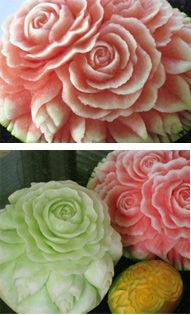 Watermelons, Honeydew and Mango carved with roses as taught in Nita's video lessons at http://www.vegetablefruitcarving.com/watermelon-carving/