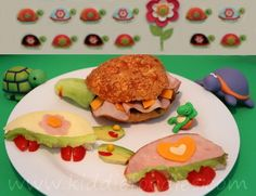 Turtles sandwich - ham and cheese sandwich for kids - Kiddie Foodies Sandwich Recipes For Kids, Lunch Recipes, Cute Food, Good Food, Sandwiches, Lunch Snacks, Ham And Cheese, Food Humor, Breakfast For Kids