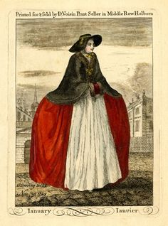 A lady standing to right, hands in a fur-trimmed muff, wearing a hooped skirt, a fur-edged cape tied with a bow and a broad-brimmed bonnet tied under her chin with a bow; city buildings in the background; title-plate to a set of twelve fashion plates.  1749  Hand-coloured etching and engraving