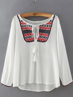 White Tie-neck Embroidered Loose Blouse -SheIn(abaday)