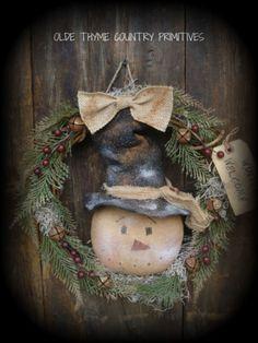 Primitive Snowman Wreath #NaivePrimitive More