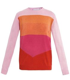 This cashmere fine-knit sweater has a light-pink, orange, pink and red stripe body with light-pink long sleeves.  The loose-fitting sweater has a round-neck, long sleeves and a ribbed-knit neckline, hem and cuffs.  100% cashmere.  Dry clean.#Matchesfashion