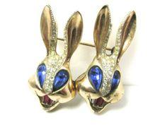 RARE Corocraft Sterling 'Bugs Bunny' Rabbit Heads Duette Pin Fur Clips | eBay