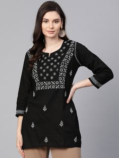 #Ada #handembroidered Black #Cotton #Lucknowi #Chikan Top- A100390 is a must have product for you, the exquisite Chikankari done on the front gives it a rich finish #Adachikan #chikankari #shoponline #worldwwidedelivery