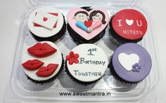 Homemade Eggless 3D customized, personalized, handcrafted, designer, fondant Valentine/Love theme birthday cupcakes for fiancee at Baner, Pune