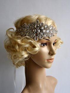 Glamour Rhinestone flapper Gatsby Headband, Wedding Headband, Crystal Headband, Wedding Headpiece, Bridal Headpiece, 1920s Flapper headband by BlueSkyHorizons on Etsy