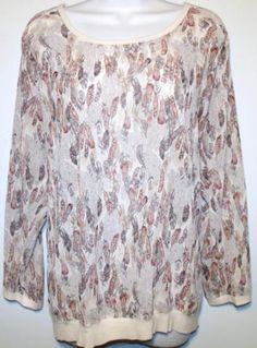 529a561a956 AMERICAN-RAG-WOMENS-PLUS-SIZE-1X-LONG-SLEEVE-FEATHER-PRINT-CHIFFON -TOP-SHIRT-NEW