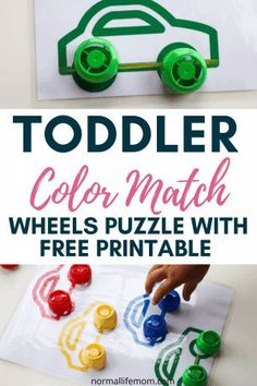 Easy and fun toddler color matching activity using a free printable car puzzle. Your young toddler will love repeating this DIY color matching puzzle over and over again. A great way to reuse pouch caps #twoyearoldactivity #toddleractivity #montessori #toddlerideas #diypuzzle #pouchcaps #earlylearning #toddlerathome #toddlereducational #toddlerslearning #toddlerlearningactivities #toddlerteaching Educational Activities For Toddlers, Indoor Activities For Toddlers, Motor Skills Activities, Infant Activities, Preschool Activities, Transportation Activities, Children Activities, Play Based Learning, Learning Through Play