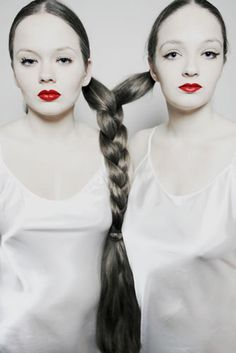 Fishtail braid siamese twins by Svetlana Jovanovic #twins #doppelganger #gemelli - Carefully selected by GORGONIA www.gorgonia.it