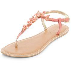 Wide Fit Pink Leather Gem Flower T-Bar Sandals (1,480 INR) ❤ liked on Polyvore