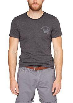 s.Oliver Herren T-Shirt mit Applikation, Einfarbig, Gr. XX-Large, Grau (dark metal melange 96W0)
