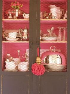 Don't you love the idea of painting the inside of a hutch, bookcase, or china cabinet in pink and filling it with a collection of blue and white Chinese porcelain, celadon, or blanc de Chine? That pink tassel is wonderful too. Painted Furniture, Diy Furniture, Painted Armoire, Pink Cabinets, Cupboards, Inside Cabinets, Bedroom Cabinets, Belgian Pearls, Tout Rose