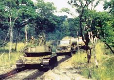 Fascinating pictures have emerged showing US-backed troops fighting Communists in what became known as 'South Africa's Vietnam War'. South African Olifant tanks are pictured moving up to the frontline prior to a major battle near Angola's Cuito River in the late 1980s