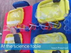 An invitation to play at the science table from Teach Preschool