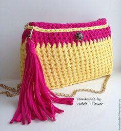 """Купить Вязаная сумка на цепочке """"Солнечный день"""" - желтый, орнамент, модная сумка, вязаный клатч"""