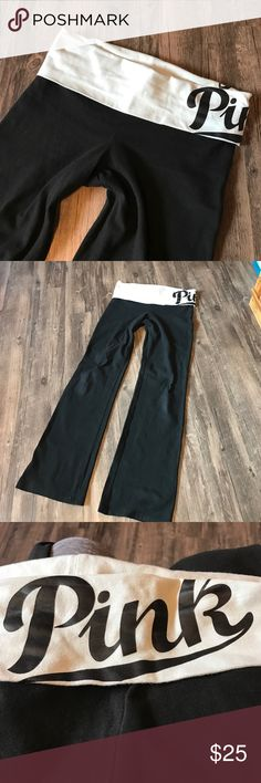 """Victoria Secret PINK Yoga Pants Good shape - normal wear but no flaws that I see. Boot cut style. Band is a faded mint green color. Pink is on the left side. Price is Firm   Inseam - 32"""" Waist - 15"""" Leg opening - 9""""  Please don't hesitate to ask questions.  Same/next Day Shipping! PINK Victoria's Secret Pants"""