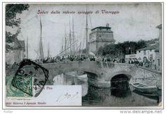 CARTOLINA ANTICA TOSCANA VIAREGGIO PONTE DI PISA ANIMATA 1908 ED. - Viareggio