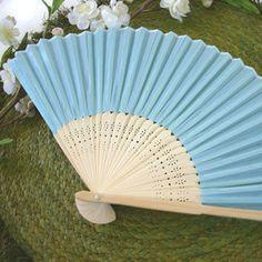 Blue+Silk+Wedding+Fans