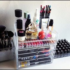 makeup organizer. If I wore a lot of makeup then I would think this was a great way to organize it all lol