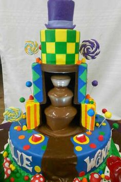 Willy Wonka Cake. Crazy but cool cake. Go for it Elaine :)