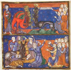 Worship of the Seven-Headed Beast from the Trinity Apocalypse (Trinity College, Cambridge, Ms. R.16.2)