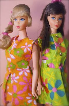 Barbie - Mod Era Barbies either the late 1960's or early 1970's. I had/have both these Barbies but both in dark hair! LSFC