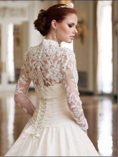 New A-line Long Sleeve Lace Bridal Gowns Chapel Train Wedding Dress Custom Size