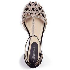 Cooper Beige Caged front jewelled flat sandal | Stylistpick