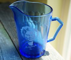 Vintage 1930's Shirley Temple Handled Cobalt Blue Child's Glass Cup Mug by…