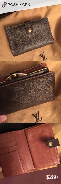 Louis Vuitton French Clip wallet monogr Small brown monogram canvas wallet with snap closure  3.5 x 5 x 1  Change compartment bill compartment  Great condition  Not cracking or peeling Made in France M10062 Louis Vuitton Bags Wallets
