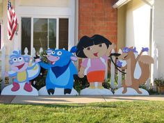 Dora the explorer lawn decorations great for birthday parties!   Www.holidaylawncharacters.com