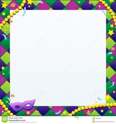 mardi gras borders backgrounds | An illustration of a Mardi Gras themed background / template.