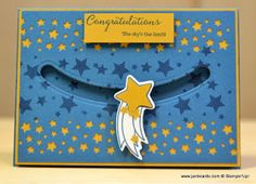 I used the Stampin' Up! Shooting Star Stamp Set and the Sliding Stars Thinlits Dies to create this congratulations card. I made a video showing how I made this card. This is the link: https://youtu.be/bSLtm7RzWps