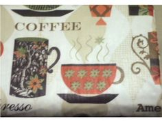 Add A Fun Tablecloth To Your Coffee Themed Kitchen With Colorful Cups Of  Coffee And Words