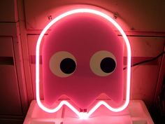 Pacman Pink Ghost Video Games Neon Light Sign