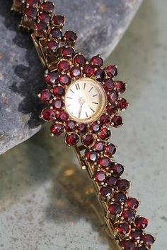 Choose Your Own Jewelry Styles Garnet Jewelry, Garnet Gemstone, Antique Jewelry, Vintage Jewelry, Art Deco Watch, Gold Wash, My Birthstone, Beautiful Watches, Art Deco Jewelry