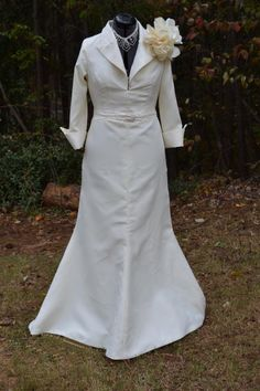 Wedding dress for the Mature bride by justme7733 on Etsy, $550.00    Would be very flattering. Similar to bridesmaids dress & good price