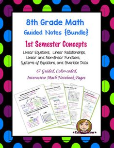 This is a bundle of (67) guided, color-coded notebook pages for the Interactive Math Notebook on all of the 1st Semester 8th Grade Math Concepts.