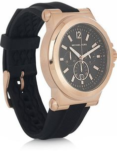 ShopStyle: Michael Kors Rose gold-plated stainless steel chronograph watch