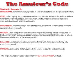 A good code to live by Radio Amateur or not.