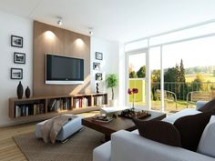 Idea panel frontal con televisión colgada de la pared.