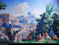 TELEMACHUS on CALYPSO's island, wallpaper manufactured by Dufour in Paris, France Stock Photo Scenic Wallpaper, Antique Wallpaper, Grisaille, Chinoiserie, Fresco, Artsy Fartsy, America, Island, Stock Photos